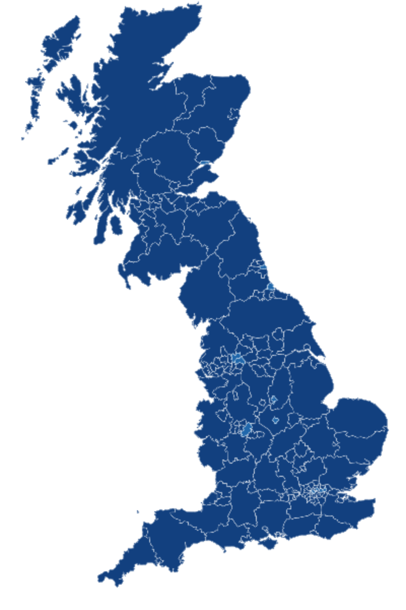 Map of the UK showing latest rate of new cases by specimen date for Upper Tier Local Authorities